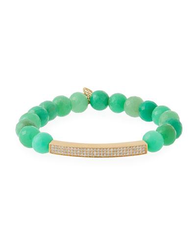 3-Row Diamond & Chrysoprase Bracelet
