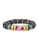 Akola Agate, Bone & Glass Stretch Bracelet, Black