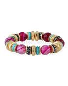 Akola Agate, Bone & Glass Stretch Bracelet, Pink