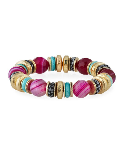 Agate, Bone & Glass Stretch Bracelet, Pink
