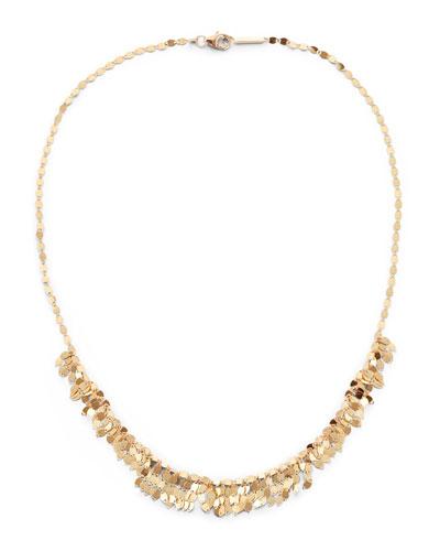 14k Gold Mini Fringe Choker Necklace, 15