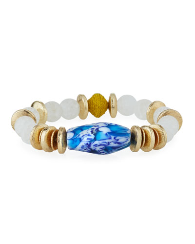 Quartz, Glass & Raffia Stretch Bracelet, Blue/White