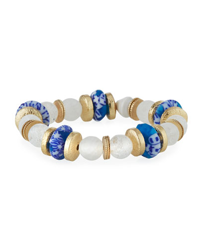 Quartz & Glass Stretch Bracelet, Blue/White
