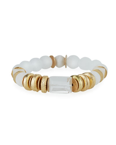 Quartz & Crystal Stretch Bracelet, White