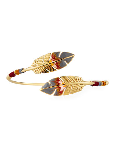 Penna Bypass Feather Enamel Bracelet