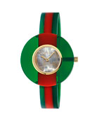 Gucci 35mm Vintage Web Resin Bangle Watch, Green/Red