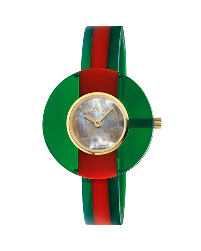 35mm Vintage Web Resin Bangle Watch, Green/Red