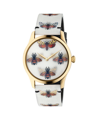 38mm G-Timeless Hologram Watch w/ Leather Strap, White/Gold