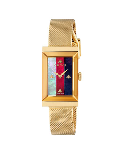 G-Frame Rectangular Mother-of-Pearl Watch w/ Mesh Strap, Gold