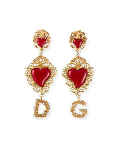 DG Double-Heart-Drop Earrings