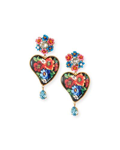 Flower & Heart-Drop Earrings