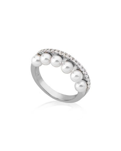 6-Pearl & Cubic Zirconia Ring, Size 7
