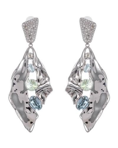 Crystal Encrusted Crumpled Multi-Stone Clip Earrings