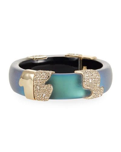 Crystal Encrusted Sectioned Hinge Bracelet, Green