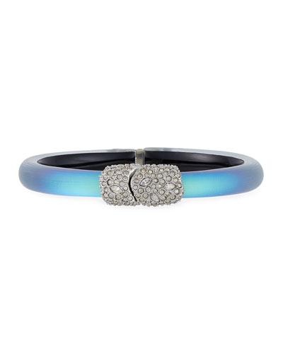 Crystal Encrusted Skinny Hinge Bracelet, Green