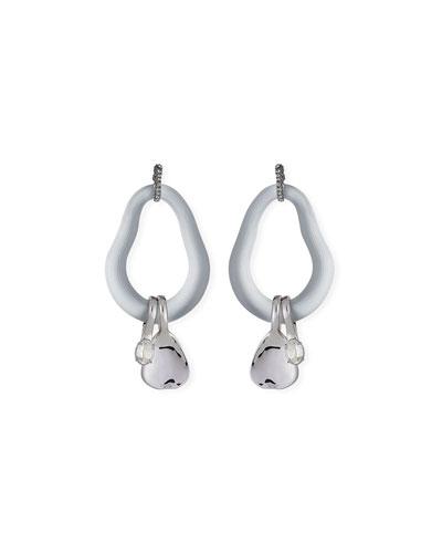 Organic Link Earrings w/ Crystal Drops, Silver