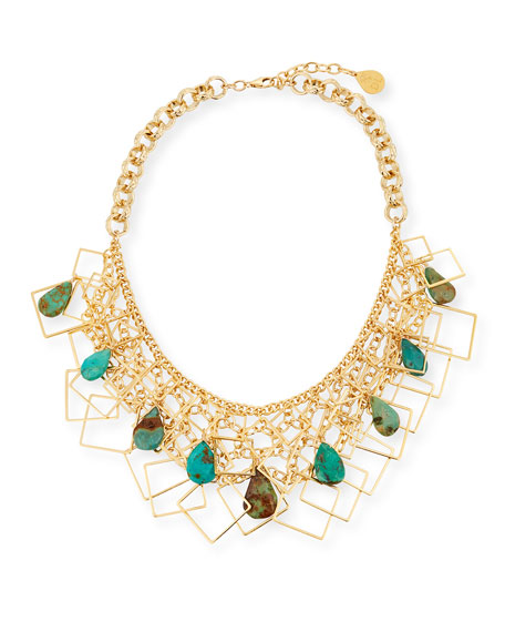 Devon Leigh Multi-Chain & Turquoise Necklace