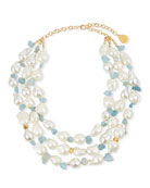 Devon Leigh Pearl & Aqua Multi-Strand Necklace