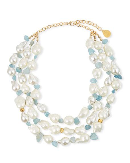 Devon Leigh Pearl & Aqua Multi-Strand Necklace