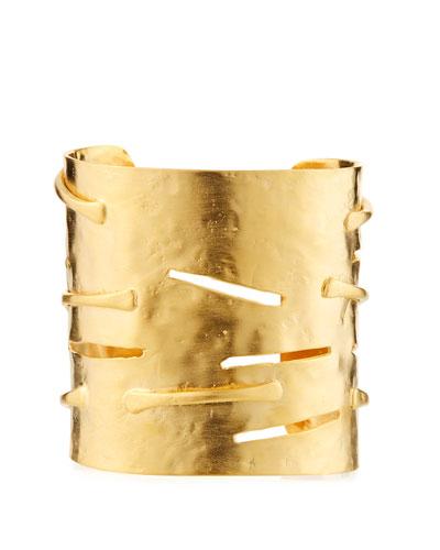 Hammered Slit Cuff Bracelet