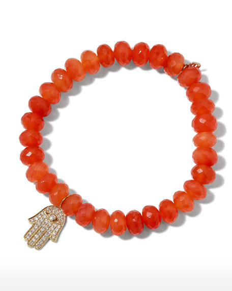 Sydney Evan 14k Medium Diamond Hamsa & Carnelian Bracelet