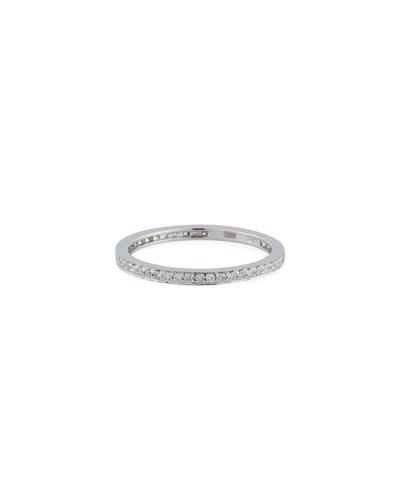 14k White Gold Diamond Eternity Band Ring, Size 5.5