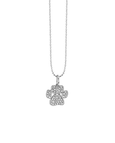 14k White Gold Diamond Paw Charm Necklace