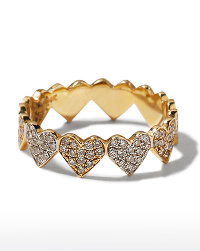 14k Diamond Eternity Heart Ring, Size 6.5
