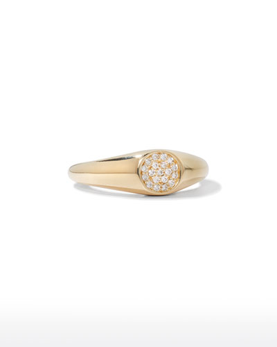 14k Round Diamond Signet Ring, Size 6.5