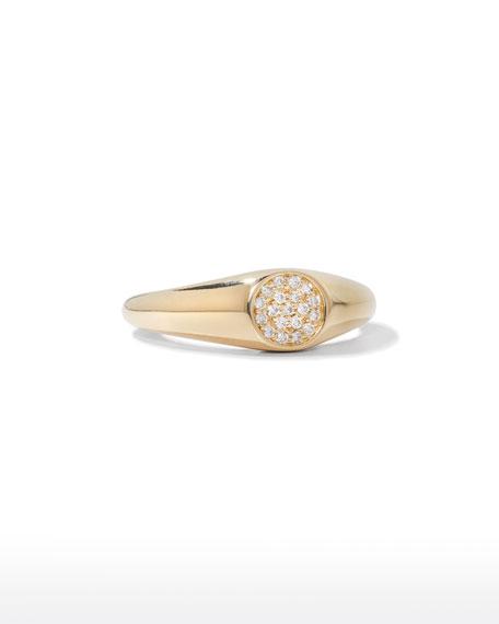 Sydney Evan 14k Round Diamond Signet Ring, Size 6.5