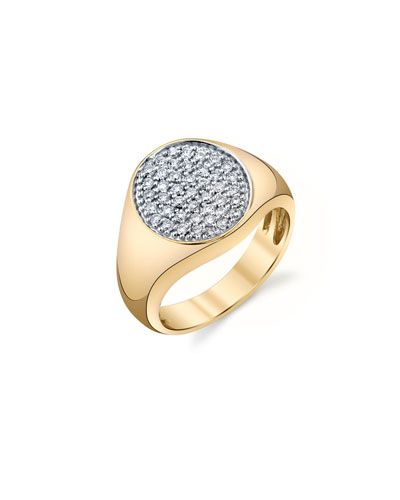 14k Small Round Diamond Pave Signet Ring, Size 6.5