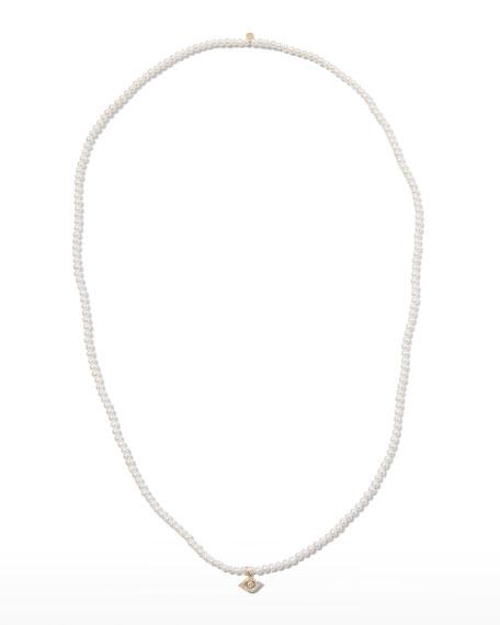 Sydney Evan 14k Diamond Evil Eye & Pearl Necklace