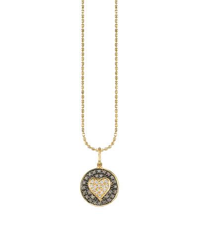 14k Two-Tone Diamond Heart Medallion Necklace