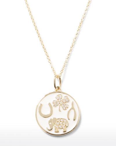 14k Luck Tableau Diamond Medallion Necklace, White