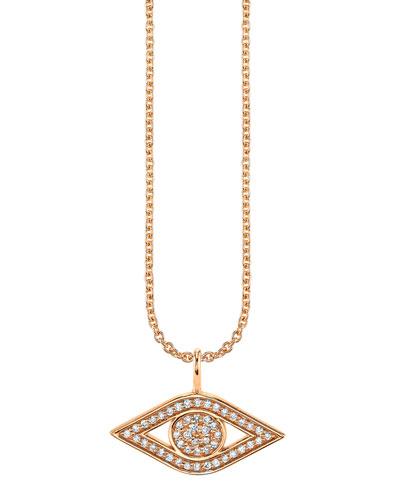 14k Rose Gold Small Diamond Evil Eye Necklace