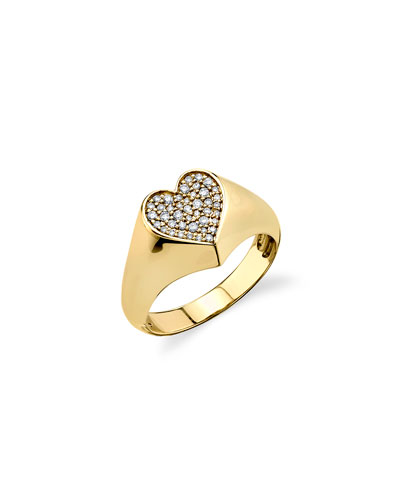 14k Small Diamond Heart Signet Ring, Size 6.5