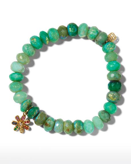 Sydney Evan 14k Rainbow Daisy & Chrysoprase Bracelet