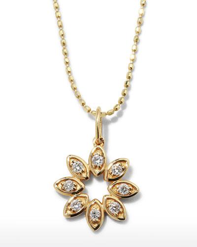 14k Diamond Marquise Flower Necklace