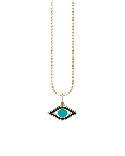 14k Navy Enamel & Turquoise Evil Eye Necklace