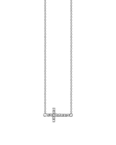 14k White Gold Mini Diamond Cross Necklace