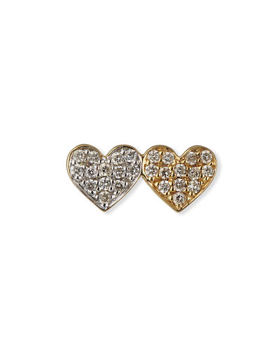 14k Double-Heart Diamond Stud Earring, Single