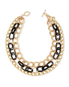 Akola Triple-Strand Black Horn & Chain Necklace