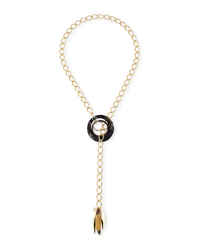 Black Horn & Lariat Chain Necklace