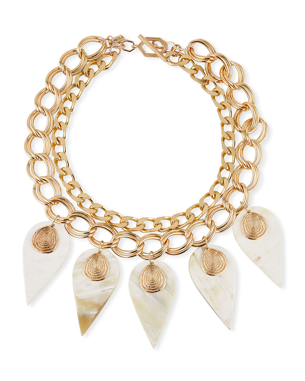 Akola Accessories White Horn & Chain Necklace