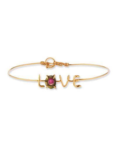 LOVE & Tourmaline Wire Bracelet