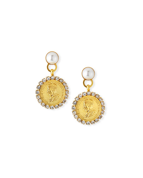 Elizabeth Cole Kyle Coin-Drop Earrings w/ Crystals