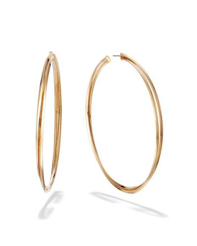 14k Royale Twist Hoop Earrings, 80mm
