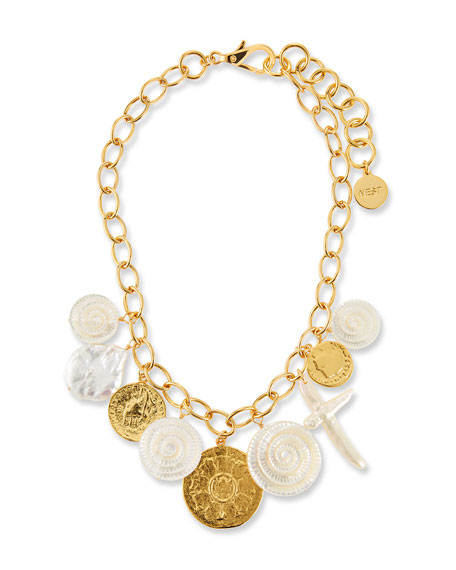 NEST Jewelry Short Chain Coin Charm Necklace