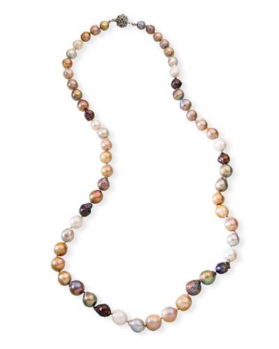 Long Multicolored Baroque Pearl Necklace