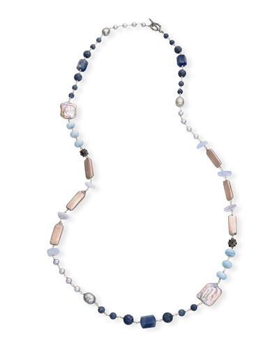 Long Silver Pearl & Mixed-Stone Necklace